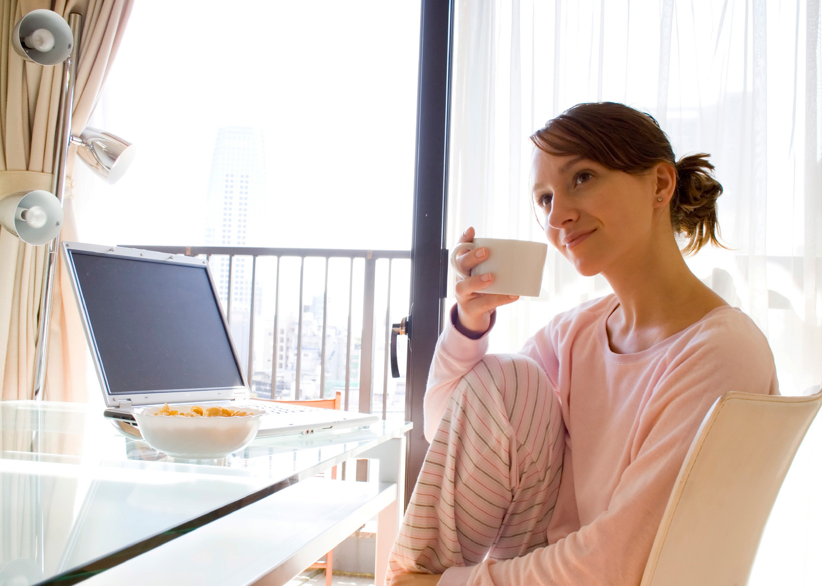 woman having coffee
